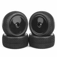 Rubber 4Pcs Front and Rear 1/10 Buggy Tires&Wheel Rims For HSP RC Off-Road Car