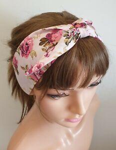 50's women headband retro bandanna self tie headband tie up hair scarf teens