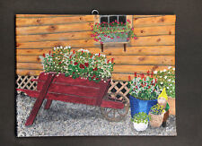 "Wheelbarrow ""Cabin Garden,"" oil on canvas 9x12 2001, D. Edward LaPosta - NICE"