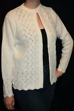 M Vtg 60s NOS White OPEN FRONT DRAPED Scalloped Knit Nan Dorsey Sweater Cardigan