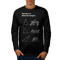 Wellcoda Tiriangles Math Mens Long Sleeve T-shirt, Sarcastic Graphic Design