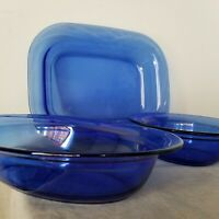 Cobalt Blue Pyrex ,lot of 3 brand new,Baking Dishes/Mixing/serving Bowl