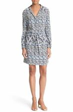 TORY BURCH Drawstring Tile Print Silk Shirtdress Riviera Blue  NWT  2 6 8