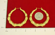 "MADE IN USA - Gold Plated Bamboo ~2-1/8"" Hoop Earrings  (#1127)"
