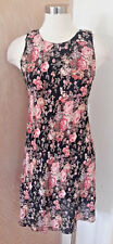 Nostalgia Sleeveless Black Floral Print Sheath Dress Vintage 1990's Size Small
