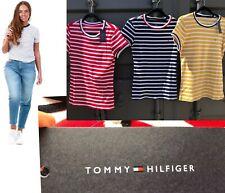 Ladies Bright Stripe Tommy Hilfiger Tshirt, Mustard, Navy & Red