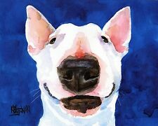 Bull Terrier Dog 11x14 signed art PRINT RJK painting