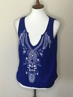 Lilka Sleeveless Small Blue Beaded Anthropologie V-Neck White Embroidered Top
