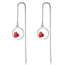 Heart Tassel Chain Link Dangle Earrings Genuine 925 Sterling Silver Charm Red