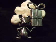 CUTE VINTAGE STERLING AND PEWTER MOUSE WITH GIFT PIN BROOCH