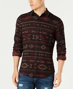 $110 American Rag Men Regular-Fit Black Red Beige Cotton Long-Sleeve Geo Shirt S
