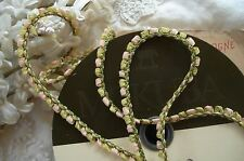 "1y MOKUBA 3/16"" PINK GREEN ROCOCO ROSETTE FLOWER BOW RIBBON TRIM FRENCH DOLL"