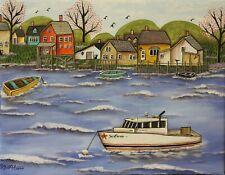 Cape Porpoise Harbor, Maine 11 x 14 ORIG CANVAS PAINTING Folk Art Karla Gerard