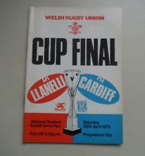 LLANELLI V CARDIFF-APRIL 28TH 1973–CARDIFF ARMS PARK -RUGBY UNION PROGRAMME