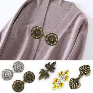 Women Retro Alloy Buckle Cloak Clasp Fastener Cardigan Sweater Shawl Collar Clip