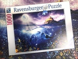 Ravensburger Puzzle 1000 pc, Whales In Moonlight, USED ONCE