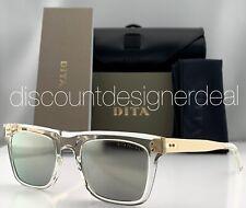 DITA TELION Square Sunglasses DTS120-51-03 Clear Frame Gold Mirror Lenses 51mm