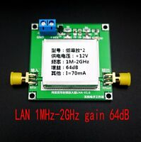 New 1MHz-2GHz 64dB Gain LNA RF Broadband Low Noise Amplifier Module HF VHF / UHF