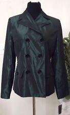 NWT Jones New York WMN Double Breasted Venice Forest Green Rain Coat Jacket Sz S