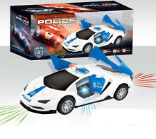 Electric Police Car Light-up Toy Automatic 360 Degree Rotating Wheel with Music