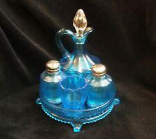 Dugan Nestor Blue Glass Condiment Set Tray Shakers Cruet Toothpick Holder