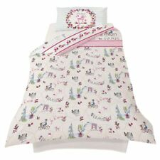 PARIS WITH LOVE SINGLE DUVET COVER SET REVERSIBLE KIDS GIRLS BEDDING