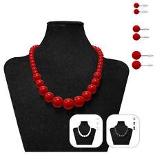 Perlenkette mit 3 Paar Ohrstecker Halskette Damen Kette Ohrringe rot weiß