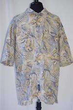 Mens Hawaiian Shirt Linen Blend Large BD Baggies Vtg Floral Print Button Down