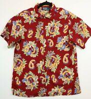 Polo Ralph Lauren  Hawaiian M Aloha Red Shirt Ukulele Guitar Print Tropical