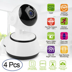 4X Wireless HD 720P Security Network CCTV IP Camera Night Vision P/T WIFI -YP13