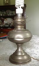 """Really Old 12""""x 7"""" Graceful Electrified Antique Oil Lamp - Works!"""