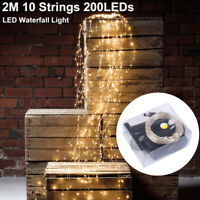 200LEDs Fairy String Lights Party Garden Window Waterfall Xmas Wedding Lights US