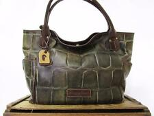 DOONEY & BOURKE Large Oversize Green Croc Leather Holdall Kristen Tote Bag Purse