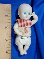 "Antique Celluloid Thin Plastic 4"" Baby Doll Penny Toy Prize Jointed VTG Rare Old"