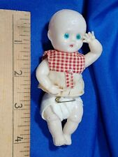 """Antique Celluloid Thin Plastic 4"""" Baby Doll Penny Toy Prize Jointed Vtg Rare Old"""