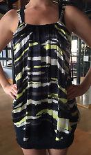 LA ROK Women's Lime Green and Black Zebra Mini Dress Size Small NEW w TAGS