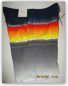 "Goodfellow & Co Board Shorts 10"" Red/Blue/Grey/Yellow stripe 3 pocket"