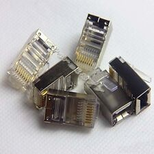 20Pcs Metal Shielding Plug RJ45 8P8C Network Modular Connector Solid Head s754