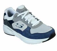 Skechers White Navy Shoes Men's Memory Foam Sporty Suede Casual Train Walk 52952