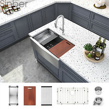 Sinber 33'' 16 Gauge Single Bowl Stainless Steel Farmhouse Apron Kitchen Sink