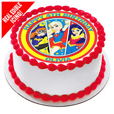 Superhero Girls Edible Image Icing Birthday Party Cake Personalised Topper