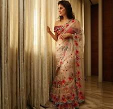 Cutwork Ruffle White Sari Saree Indian Ethnic Designer Party Wear Bollywood