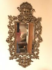 Antique Highly Ornate Brass Mirror, Faces Neptune & Winged Crown God, Dolphins