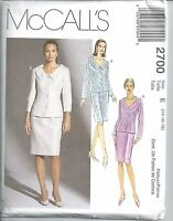 McCalls Sewing Pattern # 2700 Misses Petite Lined Jacket and Skirt Size 14-16-18