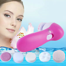 5in1 Electric Facial Scrub Brush Rotary Skin Face Care Massager Cleaner Scrubbe