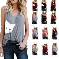 Women Letter Cotton Vest Sleeveless Loose Crop Top Tank Tops Blouse Tops T-Shirt