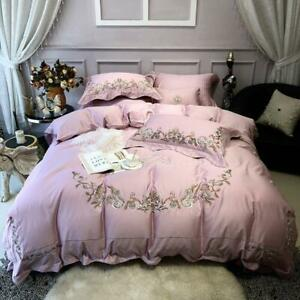 Embroidery Egyptian Cotton Pink Bedding Set King Size Queen Bed Set Bed Sheet