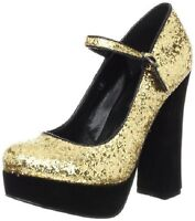 New C Label Chunky High Heel Platform Punp Shoe Party Glitter Gold Women 8 M NIB