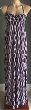 NWT Purple & White Print ACCESSORIZE Stretch Halter Maxi Dress Size S/10