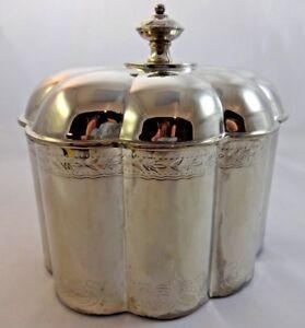 Paul Revere Godinger Silverplate Fluted Jewelry Box Trinket Box Red Velvet Linin
